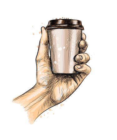 Male hand holding a Coffee paper cup