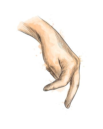 Hand with fingers simulating someone walking from a splash of watercolor, hand drawn sketch. Vector illustration of paints Foto de archivo - 130826096