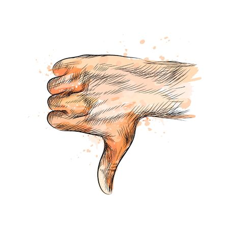 Hand gesture, thumbs down hand from a splash of watercolor, hand drawn sketch. Vector illustration of paints Vectores
