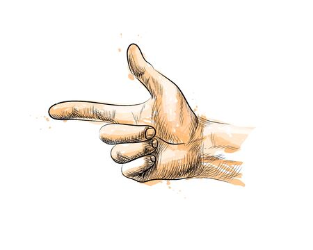 Hand gesture, finger Gun from a splash of watercolor, hand drawn sketch. Vector illustration of paints