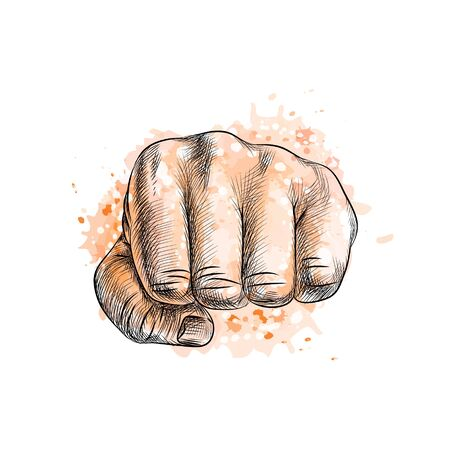 Fist from a splash of watercolor, hand drawn sketch. Vector illustration of paints