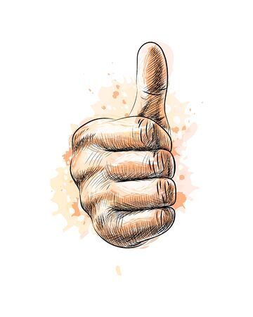 Hand showing symbol Like. Making thumb up gesture from a splash of watercolor, hand drawn sketch. Vector illustration of paints Foto de archivo - 130826105