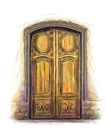 Elements of architecture, front door background, hand drawn old wooden door. Vector illustration Vectores