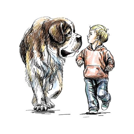 The boy is walking with a big dog on a white background. Vector illustration