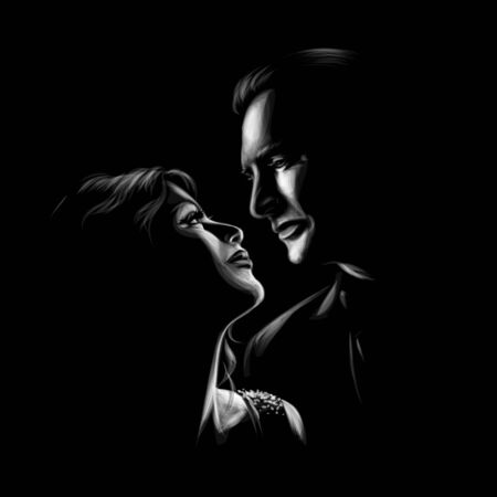 Beautiful woman and man kissing and look at each other. Romantic couple in love. Vector illustration Foto de archivo - 130826281