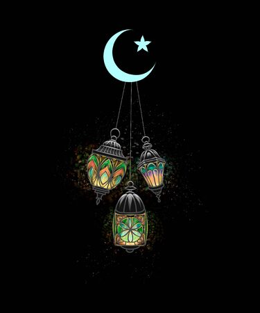 Eid Mubarak celebration. Islam, Lantern Fanus. The Muslim feast of the holy month of Ramadan Kareem. Illuminated arabic lamp. Vector illustration