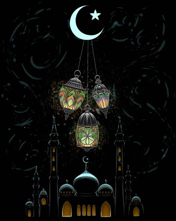 Eid Mubarak celebration. Islam, Ramadan Kareem. Mosque silhouette in night sky. Vector illustration Vectores