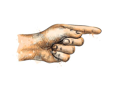 Hand pointing, pointing finger from a splash of watercolor, hand drawn sketch. Vector illustration of paints Foto de archivo - 130826280