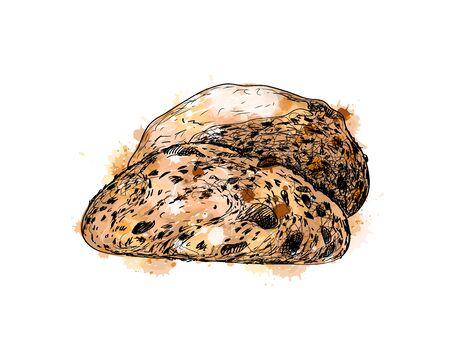 Bread from a splash of watercolor, hand drawn sketch. Vector illustration of paints Banco de Imagens - 130637732