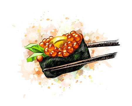 Red Caviar Gunkan Sushi from a splash of watercolor, hand drawn sketch. Vector illustration of paints