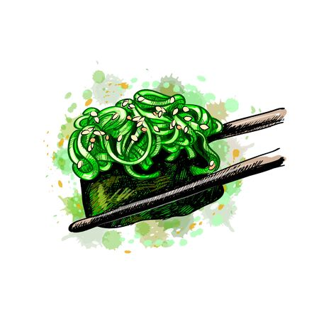 Sushi gunkan from a splash of watercolor, hand drawn sketch. Vector illustration of paints