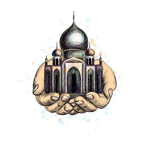 Eid Mubarak celebration. Islam, Ramadan Kareem. Muslim mosque in the hands. Eastern cultural landmark. Vector illustration Vectores
