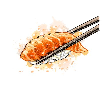Gunkan sushi with salmon from a splash of watercolor, hand drawn sketch. Vector illustration of paints