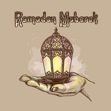 Fanus lantern. Muslim holiday of the holy month of Ramadan Kareem. Lantern in the palm of your hand. Vector illustration
