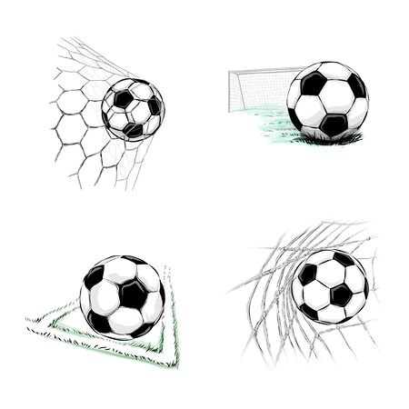 Set of soccer balls on a white background. Vector illustration Foto de archivo - 130826297