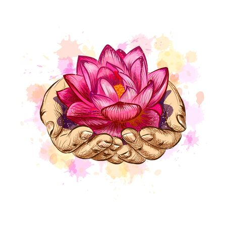Woman holding a lotus flower, hand drawn sketch. Vector illustration