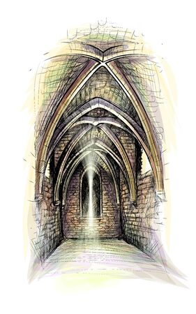 Gothic architecture hall. Castle indoor. church indoor. Vector illustration Ilustração