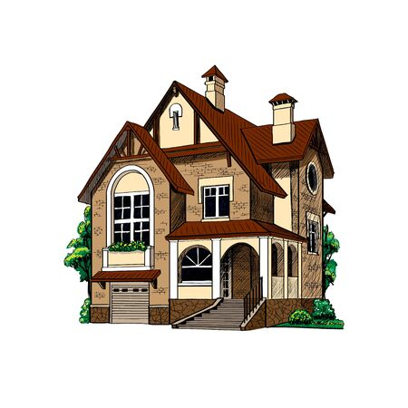 private country house cottage on white background vector illustration
