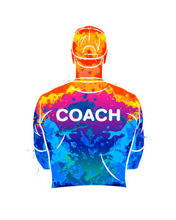 Abstract sports coach stands with his back in a T-shirt and baseball cap.