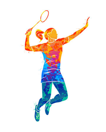 Abstract young woman badminton player jumping with a racket Illustration