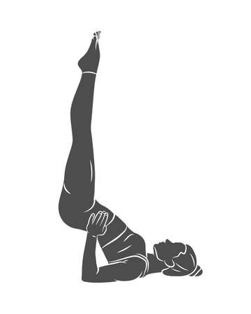 Young woman is engaged in yoga or Pilates, doing exercises