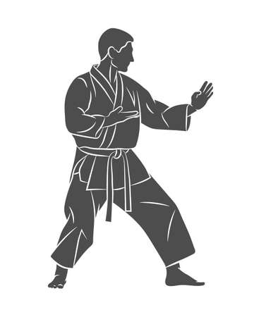 Man in kimono training karate on a white background Ilustração