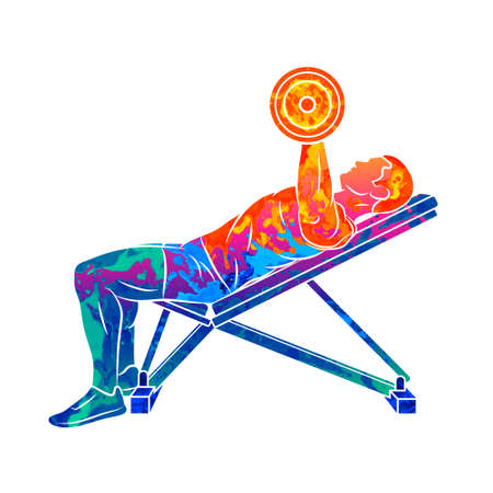 Abstract man training chest with dumbbells on bench press Ilustração