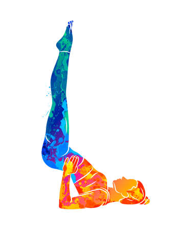 Abstract young woman is engaged in yoga or Pilates, doing exercises