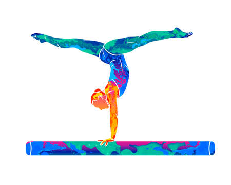 Abstract female athlete doing a complicated exciting trick on gymnastics balance beam