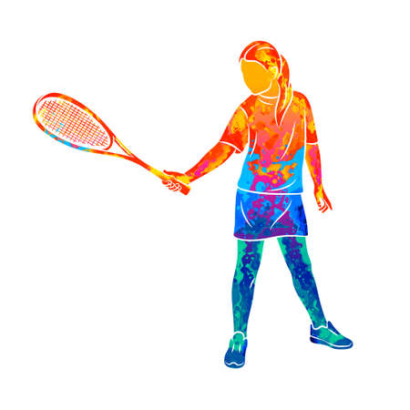Abstract young woman does an exercise with a racket on her right hand in squash. Squash game training
