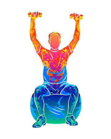 Abstract man trains on a ball with dumbbells on a white background. Rehabilitation. Fitness classes