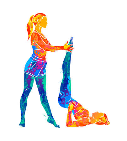 Abstract trainer helps a young woman to do yoga or Pilates, does exercises