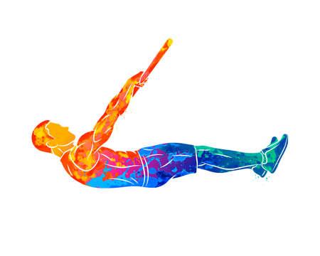Abstract young man doing abdominal exercise on horizontal bar. Calisthenics workout Ilustração