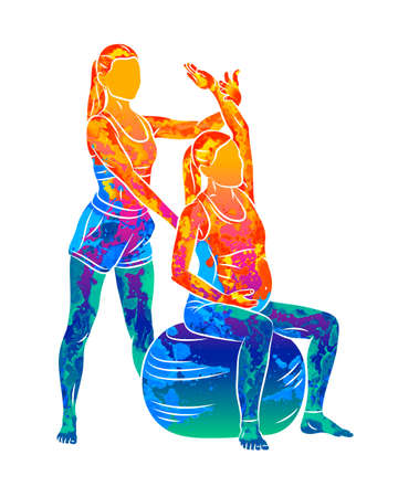 Abstract young pregnant woman doing fitness ball and pilates exercise with coach. Sitting and relaxing