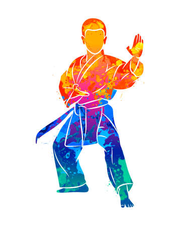 Abstract young boy in kimono training karate from splash of watercolors Vektorové ilustrace