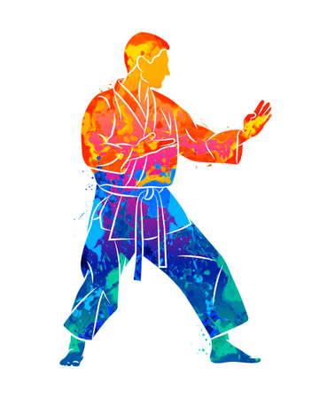 Abstract man in kimono training karate from splash of watercolors Ilustração