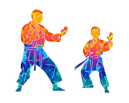 Abstract trainer with a young boy in kimono training karate on a white background