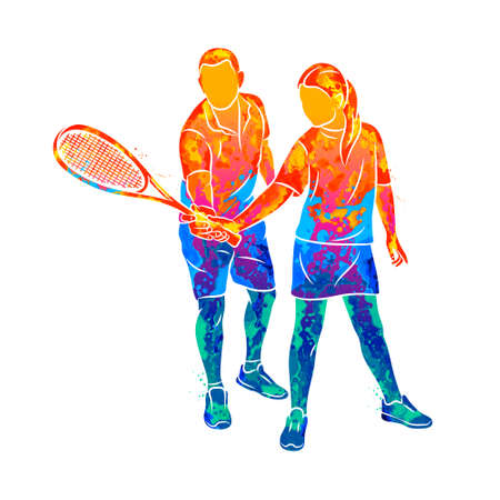 Abstract trainer helps a young woman do an exercise with a racket on her right hand in squash