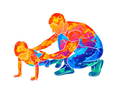 Abstract trainer helps a young boy do push-UPS from the floor. Physical education classes. Children Fitness