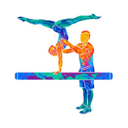 Abstract coach training young gymnast to balance on gymnastics beam