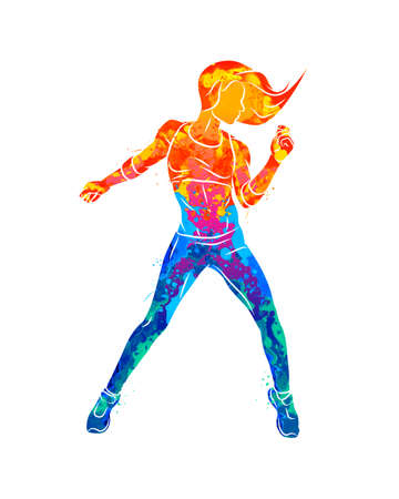 Abstract fitness instructor. Young woman dancer dancing fitness exercises. Hip hop dancer