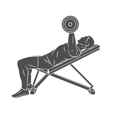 Man training chest with dumbbells on bench press
