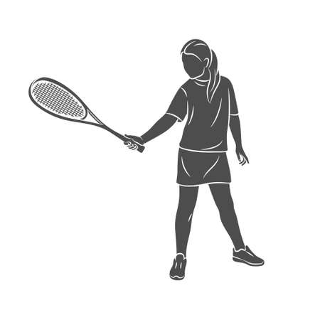 Young woman does an exercise with a racket on her right hand in squash. Squash game training