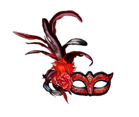 Carnival venetian mask from a splash of watercolor, colored drawing, realistic