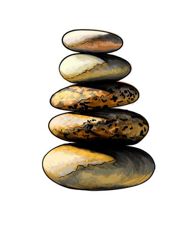 Stone Tower, Balanced pyramid stone from a splash of watercolor, colored drawing, realistic Ilustração