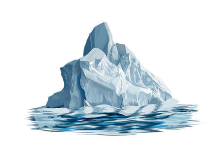 Iceberg from a splash of watercolor, colored drawing, realistic Ilustração