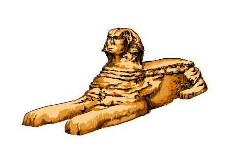 Great Sphinx of Giza from a splash of watercolor, colored drawing, realistic