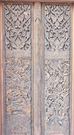 Wooden door carved Thailand  photo