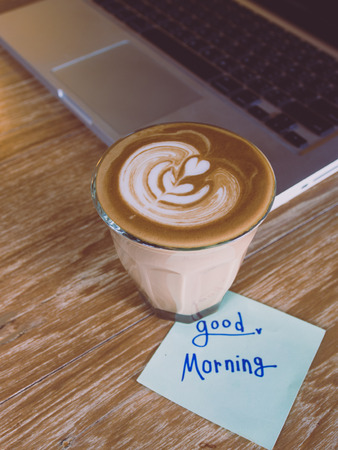 good: coffee and note Good morning