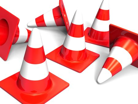 traffic cones red on white Stock Photo - 5330904
